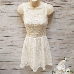 Divided H&M Off White Lace Fit n Flare Mini Dress